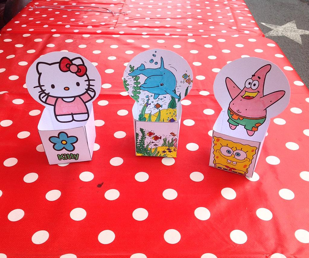 3 boites décorées par les enfants
